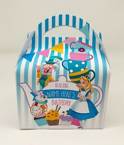 Alice Wonderland Tea Personalised Children Party Boxes Gift Favour Treat Box