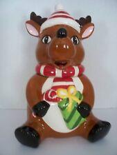 Cute Santa Reindeer Christmas Cookie Jar Canister  Holiday