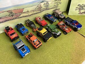 Hot wheels job lot nice bundle of Custom Jeeps 4WD big pickup trucks x 12