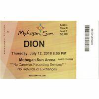 DION DIMUCCI Concert Ticket Stub UNCASVILLE 7/12/18 MOHEGAN SUN & THE BELMONTS