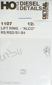 """Detail Associates HO #1107 Lift Ring """"ALCO"""" RS/RDS/S1-S4 (12 Metal Parts)"""