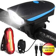 Luz de bicicleta OMERIL, LED recargable USB, delantera y trasera. Impermeable