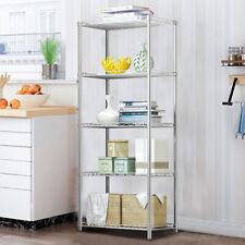 Tall 5 Tier Metal Storage Shelving Unit Kitchen Warehouse Shelf Ladder Bookshelf