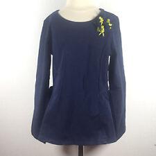 NWT Onekid Girls' Dark Blue Top With Blue & Green Floral Accent Size 6