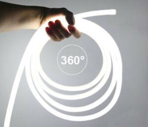 360° Runde Neon LED Strip Streifen Wasserdicht Schlauch Lichtleiste Aussen 220V