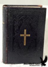 Religious Swedish Mini Psalmbok Psalm Book Leather Cover Cross Lutheran 1884