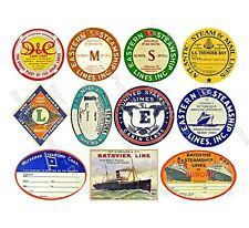 STEAMSHIP LUGGAGE STICKERS & Travel Trunk Tags, 1 Sheet, 10 Travel REPRODUCTIONS
