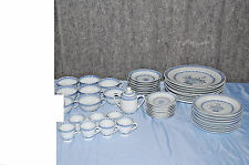 Blue & White Oriental Floral China Set  -- 48 Piece Service for 8   L2380