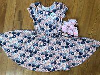 NWT Dot Dot Smile Cup Sleeve Twirl Dress Summer Knit Pink Birds print