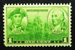 790 MNH 1936 1c Army Navy John Paul Jones John Barry Sailboats Lexington