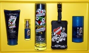 Ed Hardy MEN'S Love & Luck 3.4 oz COLOGNE+ DEODORANT+ BODY WASH+ LUGGAGE TAG