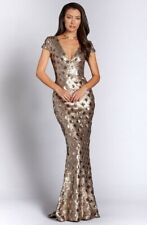 DRESS the POPULATION Brass Gold Diamond Pattern Sequin Lina Mermaid Gown Small
