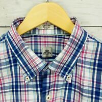 Peter Millar Blue Pink White Plaid Long Sleeve Button Shirt Mens XL