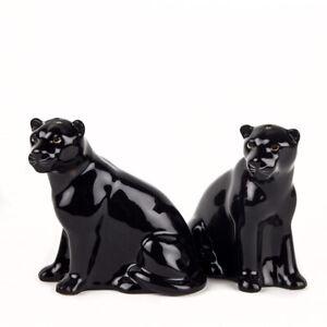 Quail Ceramics   Salt & Pepper Pots  Black Panthers