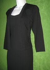 Liz Claiborne Black Crepe 2pc Social Cocktail Dress&Jacket Sweater Suit 4 $129