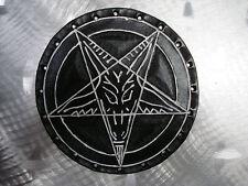 LEATHER BAPHOMET CARVED PATCH.(black metal).ANTON LAVEY