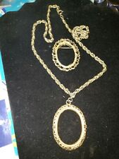 Necklace 24 Inch Long and pin Vintage Gold Tone Chain Double Link