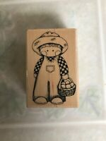 Embossing Arts Co Country Cutie Boy in Overalls Wood Mounted Rubber Stamp  225-E