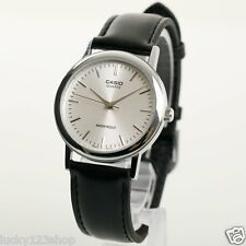 LTP-1095E-7A Silver Genuine Casio Leather Watches Water Resistant Date Women's
