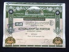COMPAGNIE ELECTRIQUE TRAMWAYS RIVE GAUCHE PARIS - ACTION 100 FRANCS 1899