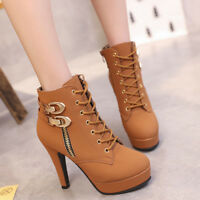 Women Fashion Ankle Boots Lace Up Buckle High Heels Platform Booties Shoes Size