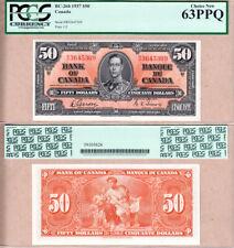 3 Consec Serial# 1937 $50 KGVI Bank of Canada PCGS UNC63-64 Gordon/Towers BC-26b