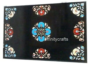 15 x 30 Inches Marble Coffee Table Top Inlay Semi Precious Gemstones End Table
