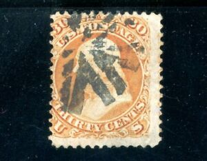 USAstamps Used F US Serie of 1867 Franklin Scott 100 With F Grill