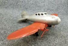 """Vintage WYANDOTTE MARX AIRPLANE 15"""" WING SPAN PRESSED STEEL WOODEN WHEELS USA"""