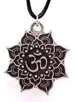 Om Pendant Aum Lotus Flower Pewter Spiritual  Buddhist Cord Necklace