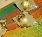 Vintage Christmas Ornament Teardrop Set of 4 Glass Hand Painted Gold Trim Floral