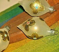 Vintage Christmas Ornament Teardrop Set of 4 Glass Hand Painted Gold Trim Floral