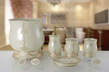 6 Piece Decorative Bathroom Accessory set Made of Ceramic (Embassy Beige)