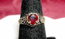 18K GOLD ELECTROPLATED RING WITH SIMULATED RUBY LOVE HEART RING SIZE 7.25