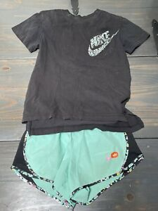 NIKE T-Shirt & Shorts 2-pc Set Girls Size Small (8) Athletic Outfit Green Black