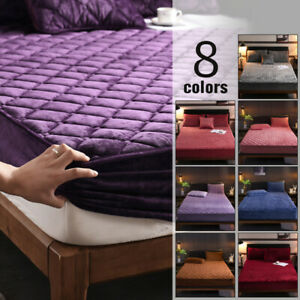Luxury Velvet Quilted Mattress Cover Bed Protector Warm Soft Padded Fitted Sheet