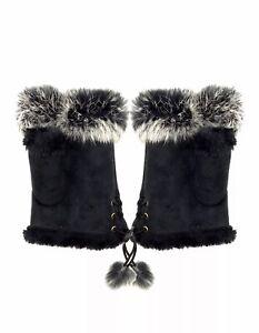 Joblot 12 Pcs Black Colour Ladies fingerless fur gloves