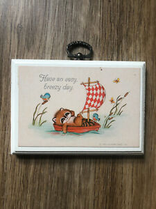 Vintage Hallmark Plaque Animal Kids Wall Decor 1980 Have An Easy Breezy Day