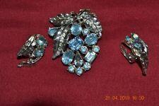 Plate, unmarked Blue rhinestones Vintage Brooch w/Earrings Silver