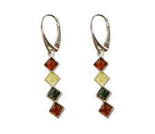 Bernstein 925 Sterling Silber Ohrringe Ohrhänger mit Quadraten für Damen