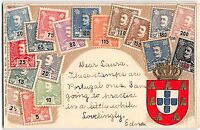 Stamp Card Postcard Showing Portugal Postage Stamps~108142