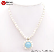 Women Jewelry & Sky-Blue Jade Pendant 6-7mm Natural White Pearl Necklace for