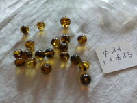 lot de 19  superbe perle ancienne en verre marron tigré ronde diam 11 mm 1 de 13