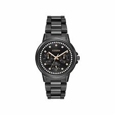 Citizen Eco-Drive Ladies' Black Ion Plated Watch w/ Swarovski Crystal Accents