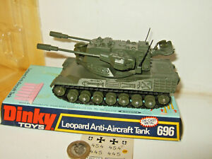 Vintage Rare Dinky 696 Leopard Anti Aircraft Tank with shells and Blister Pack.