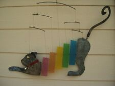 Metal Wind Chimes Large Cat with Multi Color Glass Bars Mobile FREE SHIP