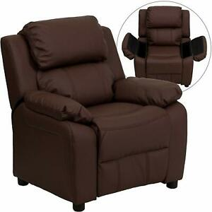 Flash Furniture Padded Brown Leather Kids Recliner with Storage Arms New