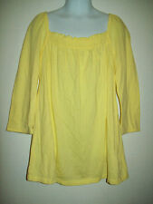Old Navy Girls Top Size 8 Yellow 3/4 Sleeve Jersey Knit Back to School
