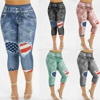 Womens American Flag 3D Jean Denim Printed Skinny Capri Plus Size Pants Leggings