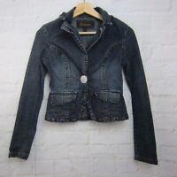 Younique Women's Jacket Size S Blazer-Cut Dark Wash Blue Jean Single Button L/S